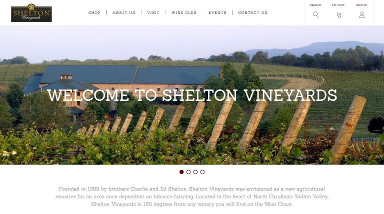 Shelton Vineyards Homepage Design