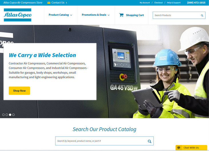 Atlas Copco Homepage Web Design featuring the marketing panel