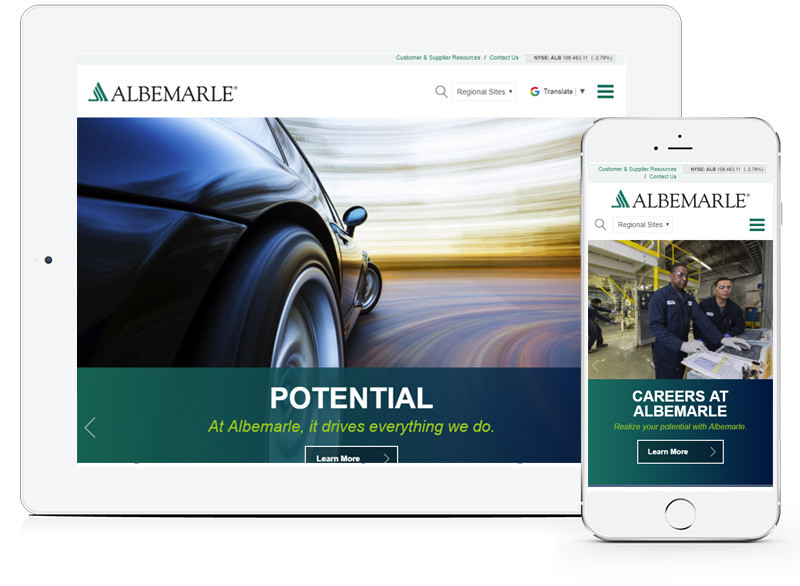 Albemarle Website Design created in Echo+ by E-dreamz