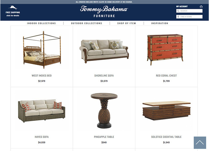 Tommy Bahama Product Listing Web Page