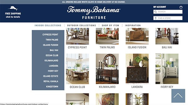 Tommy Bahama Product Listing Page on Website created by E-dreamz