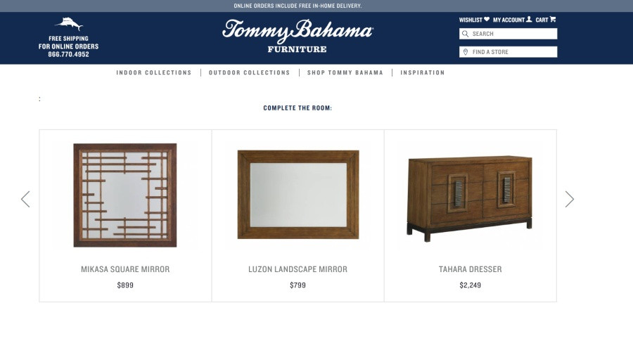 Tommy Bahama Cross Selling on Website